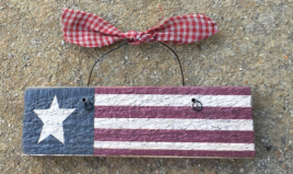 Primitive US Flag on wire with gingham Bow Ornament