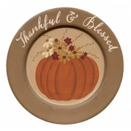 Primitive Wood Plate - Thankful & Blessed