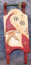 Primitive Wood Santa Sleigh 34043H-  HOHOHO Sleigh Ornament