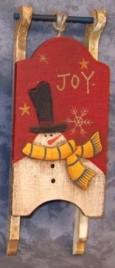 Primitive Wood Santa Sleigh 34043J -Joy Mini Wood Christmas Sleigh Ornament
