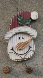 34906T- Santa Face w/2 Bells wood sign