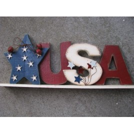 35178-USA Wood Sign with bells and metal stars