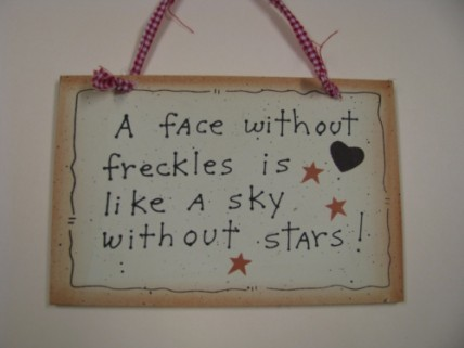 35231F A face without freckles is like a sky without stars wood sign