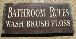 Primitive Wood Bathroom Rules Sign 36907M-Bathroom Rules Maroon