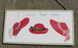 Red Hats Wood Sign 38B - I Love Red Hats