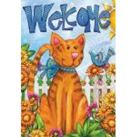 House Flag 3915 Welcome Cat
