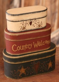 Country Welcome Boxes 3B1321 - set of 3 Paper Mache'