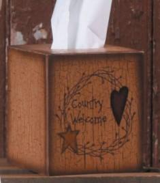 Primitive Tissue Box Paper Mache' 3TB003-Star/Heart Country Welcome