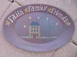3W9652L  Faith Family Friends Oval Plate