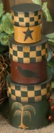 3B1226 - Folk Art set of 3Nesting Boxes