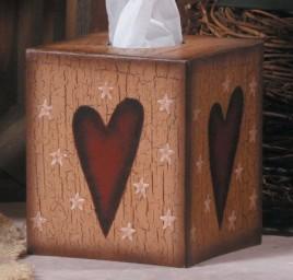 3tb001-Heart Kleenex Box Cover Paper Mache'