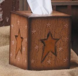 Primitive Tissue Box Cover Paper Mache 3TB002-STAR