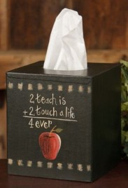 Primitive Tissue Box Cover TB312- 2 Teach is 2 A Touch Paper Mache'