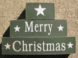 40109G-Merry Christmas Green Block Set of 3