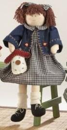 41382-Sitting Girl Blue Plaid Dress Doll
