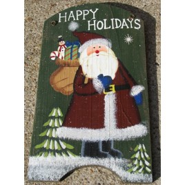 41974HH - Happy Holidays Santa Wood Sign