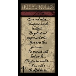 452HRS - House Rules Swirl wood sign