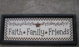 45376FFF Faith  Family  Friends wood black framed sign
