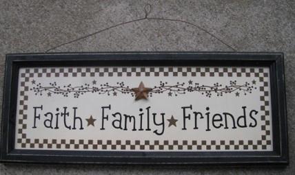 45376FFF Faith  Family  Friends wood black framed sign