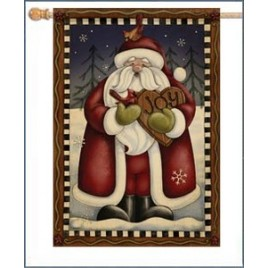 47049-Folk Santa Joy House Flag