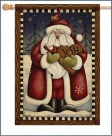 47049-Folk Santa Joy House Flag