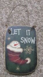 47069litq - Let is Snow Square Wood Ornament