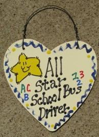 Teacher Gifts  5015 All Star School Bus Driver Wood Heart