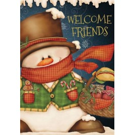 House Flag 5086 Welcome Friends Snowman House Flag