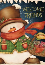 House Flag 5086 Welcome Friends Snowman House Flag