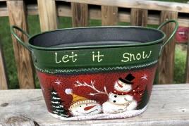 Christmas Snowman 79433NB Let It Snow Metal Basket