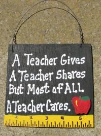 Teacher Gift 5208 A Teacher Gives A teacher shares but most of all a Teacher Cares with Ruler/Apple