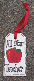 Teacher Gifts  56122AST All Star Teacher Wood Tag