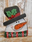 5729  Welcome Snowman Christmas wood block