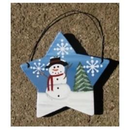 61 - Snowman on Star Christmas Ornament