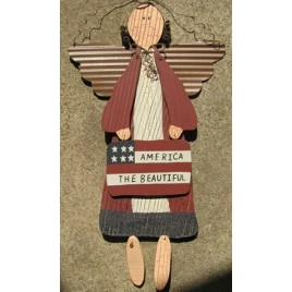 6983ATB-America The Beautiful wood angel with metal wings