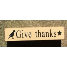 6W1979Gt - Give Thanks crow and star wood Block