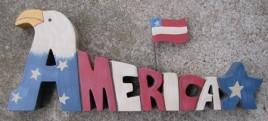 704150 America, Eagle, Star & Flag Wood Block