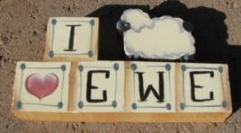712E - I Love Ewe wood block