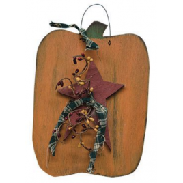 Fall Decor 7548PUMP - Hanging Pumpkin with Star, Homespun Ribbon and Pip Berries