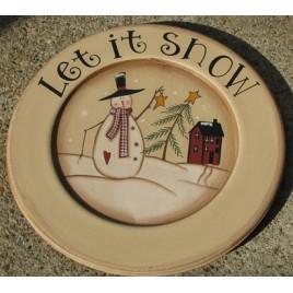 85288LIS - Let It Snow snowman wood plate