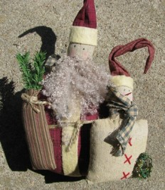 86402-Primitive Fat Santa w/Snowman