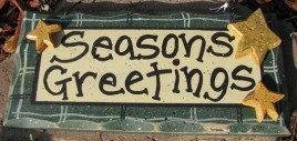 Primiitve Wood Sign 8651G Season Greetings Green