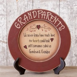 Primitive Wood Plate - We Never Knew How Much Love our Hearts - Grandparents