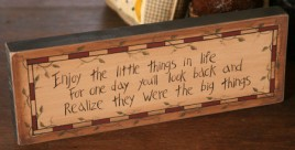 8W0014 Enjoy the little things in life wood block