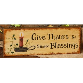 8W1468 Give Thanks for simple Blessings wood block