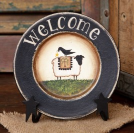 8W1559 Welcome Sheep round wood plate