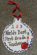 Teacher Gifts 9001 Worlds Best First Grade Teacher Ornament