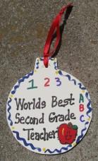Teacher Gifts 9002 Worlds Best Second Grade Teacher Ornament
