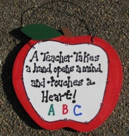 Teachers Gifts - 9171H   A Teacher Takes a Hand,  opens a mind and touches a heart wood sign