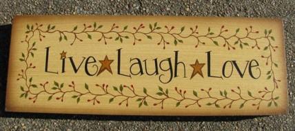Primitive Wood Block 98033 Live Laugh Love